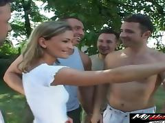Cute blonde wants to enjoy a hot gangbang game with randy hunks tube porn video