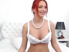 Sexy Redhead Rubs Clit Sucks Dildo tube porn video