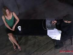 Slave tied then having her ass spanked in BDSM torture