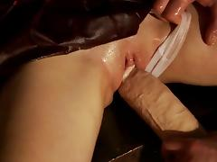 Oiled college girl in bondage learns to love giant cock porn tube video