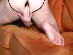 Fucking a huge brown dildo on the couch tube porn video