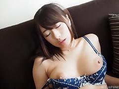 Sexy Saki Hatsumi moaning when pleasured using vibrator porn tube video
