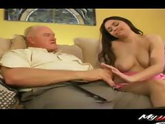 Elderly man has a good time fucking a fortunate brunette honey porn tube video