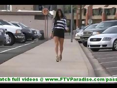 Marletta naughty little brunette flashing tits and ass and flashing and stroking pussy in public