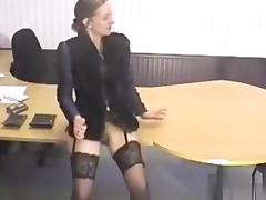 Kutasia is getting a pencil from the flasher that entered her office. porn tube video