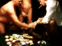 Dirty whore gets gangbanged on a poker table by three fuckers porn tube video