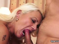 Blonde Hairy Granny Enjoys A Young Stud porn tube video