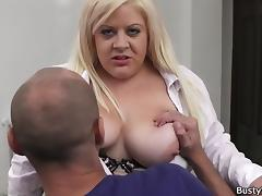 Boss fucks blonde bbw in stockings