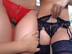 Beautiful lingerie babes softcore lesbian play on cam porn tube video