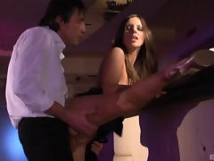 Stunning Debbie White seduced by a good-looking fellow for a fuck