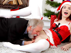 Loventa in Loventa receives a hard old cock for Christmas - OldGoesYoung