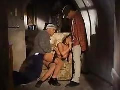 Double pounding in the basement tube porn video