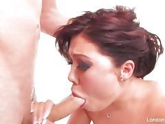 Asian London Keyes sucking hard cock tube porn video
