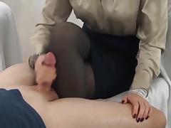handjob cum on pantyhose leg