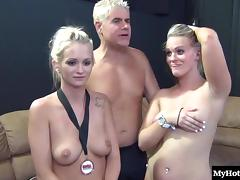 Moans as blonde with fine ass rides dick hardcore in foursome