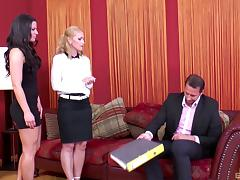Kathia Nobili and her friend join a handsome man for a threesome