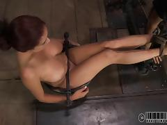 Slave juicy pussy getting screwed with toy in BDSM closeup shoot porn tube video