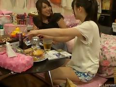 Drunk Japanese cunt-lickers get naked and go wild together