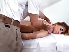 Massage ends with a good shag on the floor and plenty of spunk