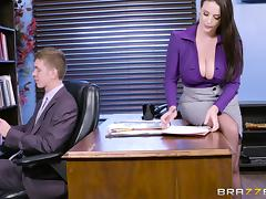 Angela White spreads her legs for a great office shag tube porn video
