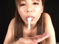 Japanese girl sucks a cock before her mouth is filled with cum