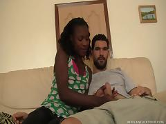 african babe sucks big white dick