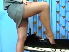 Shapely legs in stockings