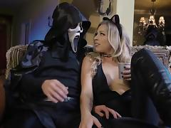 Strong Halloween shag on the floor for slutty Zoey Monroe tube porn video
