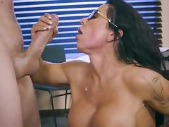 Busty female gets working with cock at the office