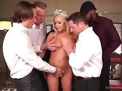 blonde princess sucks cocks in a gangbang
