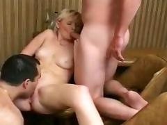 Two guys and a blonde porn tube video