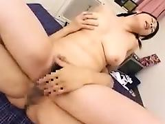 Stacked Oriental girl works her hairy slit on every inch of porn tube video