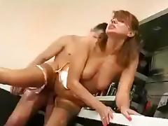 Quickie in the kitchen tube porn video