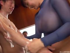 Busty Hana Haruna enjoys a kinky wet gangbang game