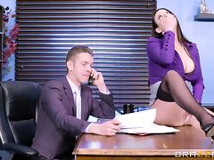 Angela White as a slutty secretary who gets boned on a desk and sofa