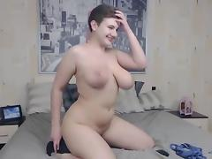 Busty BBW strips and toys on cam