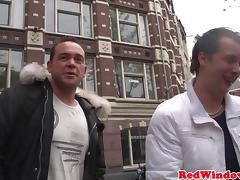 Real Amsterdam hooker cock slaps tourist tube porn video
