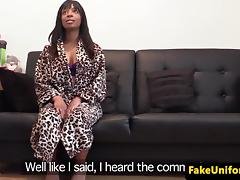 Black british babe doggystyled by english cop