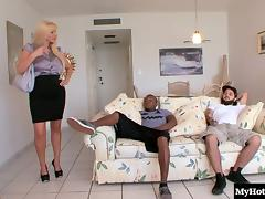 Busty blonde cougar bends over for a hot black guy's dong tube porn video