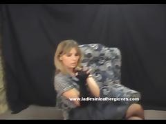 Sexy blonde Milf enjoys wearing leather gloves with her whip tube porn video