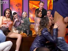 Zafira and Coco de Mal dressed in sexy clothes for a great group sex porn tube video