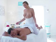 busty blonde gives her man a massage to remember