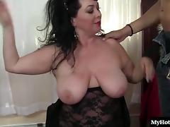 Curvy mature brunette has a great sex affair with a randy man porn tube video