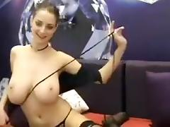 Sexy stripteasing blonde babe shows off her big hot boobs and enjoying on webcam