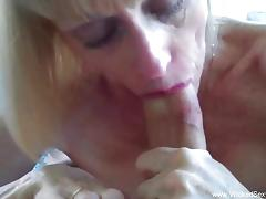 Blonde giving blowjob In The Backyard