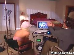 Horny blond MILF gets her shaved pussy tube porn video