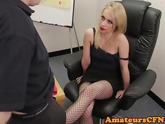 CFNM femdom giving footjob in stockings