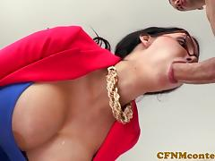 Hugetitted cfnm cougar doggystyled in duo porn tube video