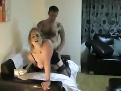 Big titty blonde slut sucks hard cock and sits on it