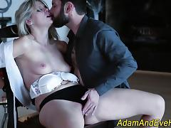 Bound babe gags on cock porn tube video